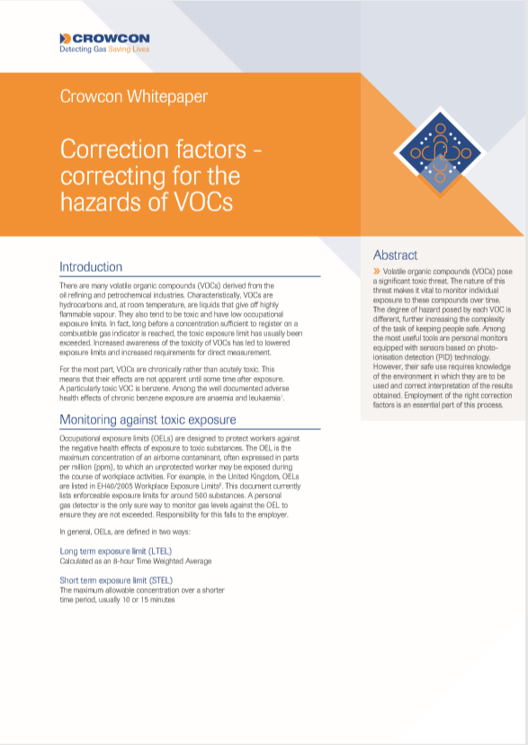 Correction factors -  correcting for the hazards of VOCs