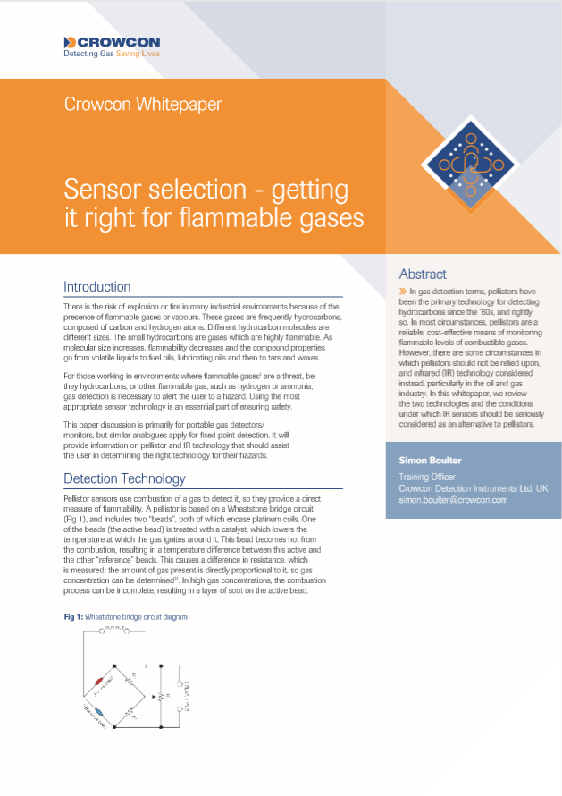Sensor selection - getting it right for flammable gases